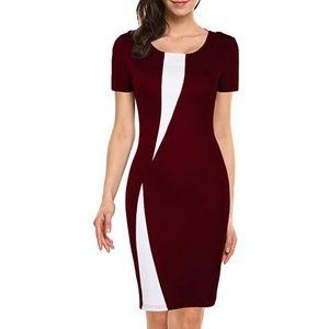 Dresses & Skirts - Women's Short Sleeve Colorblock Slim Bodycon Dress